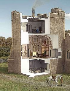 Cutaway reconstruction drawing of the tower at Longthorpe. Security was a real consideration. Marauding bandits frequented the east Midlands in the early 14th century – although Robert's precautions failed when in 1327 he was burgled, imprisoned and held to ransom in his own house.
