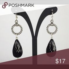 Handmade, Black & Silver Earrings Handmade, Black Acrylic Tear Drop Swirl beads with a Twisted Silver Ring. Brand new, never worn. Hypoallergenic silver ear wires. Jewelry Earrings