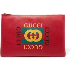 Gucci Printed textured-leather pouch (3.685 RON) ❤ liked on Polyvore featuring bags, handbags, clutches, red, colorful clutches, zip purse, red purse, zipper purse and gucci purse
