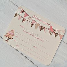 Cupcake And Bunting Party Invitations Pack