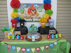 "Photo 18 of 19: Angry Birds / Birthday ""The blue angry bird says WEEEEEE.... Mathews turning 13"" 