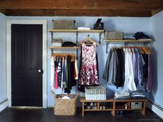 As someone who has lived in homes with little to no closet space, I concur that this open closet is a fantastic idea. Now, you've just got to keep it organized... /ES