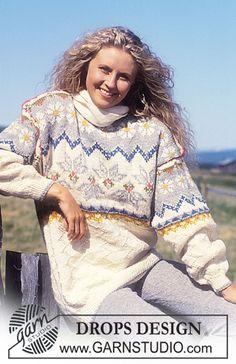 DROPS genser i Alaska med nordisk Struktur og Stjerne Blomster. Kort eller Lang Modell. ~ DROPS Design