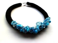 Croched necklace with blue glas beads by Vesperto on Etsy, £25.00