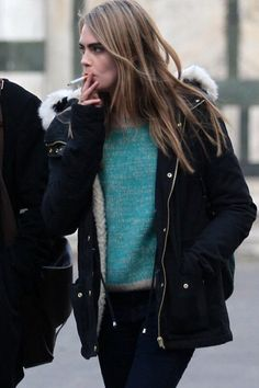Cara Delevingne  -1st pic I saw of her smoking. I don't say that smoking is good but it looks so natural with her.