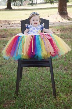 Rainbow High Chair Tutu Rainbow Birthday by GigglesandWiggles1
