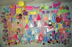 Disney Princess & Polly Pocket Dolls Clothes Shoes Accessories Furniture Lot GUC #DollswithClothingAccessories