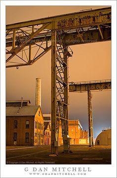 Ship Yard Towers and Fog, Night. Mare Island Naval Ship Yard, Vallejo, CA, USA.