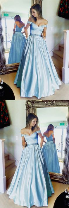 Baby Blue Prom Dresses Long Satin V-neck Off The Shoulder Evening Gowns