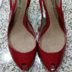 Zara Red Slingbacks Patent Leather In good condition very minor scuff/marks...only worn twice. Zara Shoes