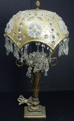 Victorian Bronze and Crystal Dome Lamp : Lot 436