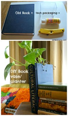 ReFab Diaries: Repurpose: Old book + Used packaging = Book Planter/Vase