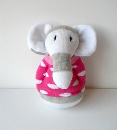 sock elephant...wonder if I can figure this out to make into a rattle