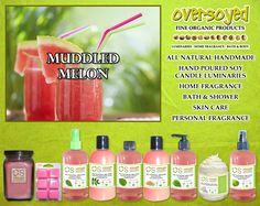 Muddled Melon Product Collection - Refreshing melon and crisp apple rest upon a comforting blend of sandalwood, amber and sugar cane. #OverSoyed #MuddledMelon #Melon #MixedFruits #MixedFruit #Fruity #Fruit #Candles #HomeFragrance #BathandBody #Beauty