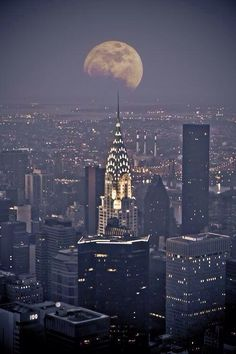 New York City provides spectacular canvas for the moon as it traverses the sky.