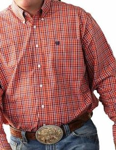988a5cb8e5 Cinch Western Shirt Mens L S Plaid Button Pocket Coral MTW1104105 from  Stand Up Ranchers