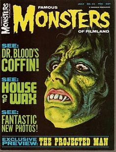 Famous Monsters of Film land Issue #45 July 1967 (The cover ghoul is by Ron Cobb. The films featured are THE PROJECTED MAN (1966), RETURN OF THE VAMPIRE (1944), DR. BLOOD'S COFFIN (1961) and HOUSE OF WAX (1953). The usual great collection of monster photos and upcoming fright features compliment this issue.)