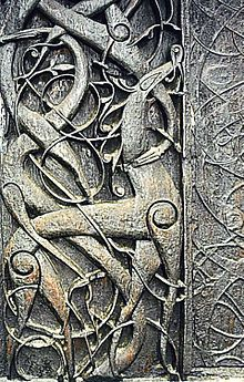 door carvings at the 12th-century Urnes Stave Church, Norway, may be a depiction of Ragnarök/Götterdämmerung/Twilight of the Gods