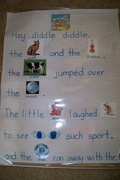 Perfect example of a poster used in a print-rich environment. Uses illustration… Perfect example of a poster used in a print-rich environment. Uses illustrations so children who may not be able to recognize the nursery rhyme can make a connection. Nursery Rhyme Crafts, Nursery Rhymes Preschool, Nursery Rhyme Theme, Nursery Themes, Kids Rhymes, Preschool Songs, Emergent Literacy, Kindergarten Literacy, Early Literacy