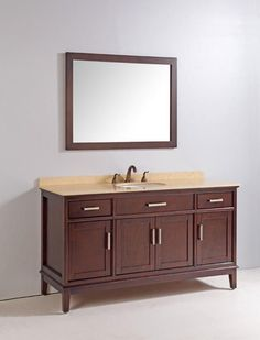 The Tobak is Finished in a rich dark Cherry brown wood color finish, this vanity with tapered straight legs and beautiful Solid Slab Cream Marble Stone counter top completes the right finishing touche