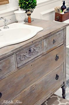 Home Interior Blue TIDBITS--TWINE-Guest-Bathroom-Dresser-Vanity - curved edges of sink look great against the wod.Home Interior Blue TIDBITS--TWINE-Guest-Bathroom-Dresser-Vanity - curved edges of sink look great against the wod Bathroom Renos, Bathroom Renovations, Small Bathroom, Bathroom Ideas, Master Bathroom, Bath Ideas, Bathroom Organization, Modern Bathroom, Bathroom Pink