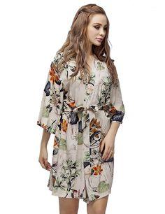 1065be3c79dea Short Cotton Maternity Robe Cotton Bridesmaid Robes, Lotus Leaves, Orange  Flowers, Nightwear,