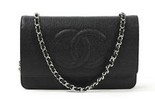 NWT CHANEL Black Caviar Leather Wallet On A Chain Handbag STARTING AT 99 CENTS - www.ShopLindasStuff.com