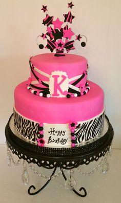 CakesbyKirsten. #hotpink, black and white.  #teen cake.