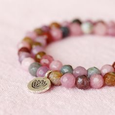 Lilac Pink Jade Agate Stone Double Wrap Lotus Hill by TheGoosle handmade bracelet beaded bracelet