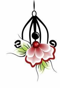 Una Simple Flower Design, Simple Flowers, Flower Designs, Stencil Diy, Stencils, Stone Painting, Painting On Wood, Rock Painting Designs, Borders And Frames