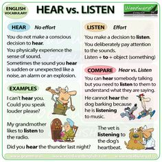 The difference between HEAR and LISTEN in English - ESL Vocabulary