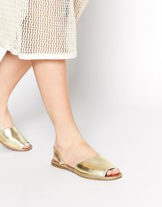 Image 4 ofFaith Junction Gold Leather Slingback Flat Sandals