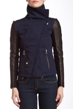Doma Colorblock Leather Blend Jacket by Doma on @HauteLook