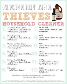 A dozen different uses for Thieves cleaner. For your safety, I can only recommend using Young Living Essential Oils, which are therapeutic grade essential oils. Essential Oil Cleaner, Thieves Household Cleaner, Thieves Essential Oil, Essential Oils Cleaning, Essential Oil Uses, Thieves Cleaner, Household Cleaners, Diy Cleaners, Thieves Spray