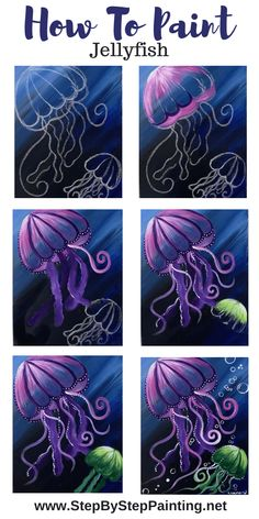 How To Paint A Jellyfish - Step By Step Painting - Jellyfish Painting – Step By Step Painting - Small Canvas Paintings, Small Canvas Art, Simple Acrylic Paintings, Diy Canvas Art, Acrylic Painting Canvas, Monet Paintings, Canvas Crafts, Acrylic Art, Abstract Paintings