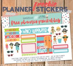 Free Printable Summer Treats Planner Stickers from Planner Kate and Dorky Doodles