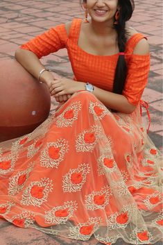 Orange Colour Nylon Net Fabric Party Wear Lehenga Choli Comes with matching blouse. This Lehenga Choli Is crafted with Embroidery This Lehenga Choli Comes with Unstitched Blouse Which Can Be Stitched ...