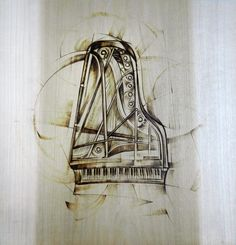 My dad and I are descendants of the Steinway Piano family. He loves pianos, so for Xmas I woodburned this for him