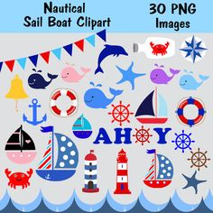 Nautical Clipart Instant Download Anchor PNG Images by BridalBust