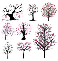 Illustration of love tree vector set vector art, clipart and stock vectors. Tree Wall Decor, Tree Illustration, Tree Art, Doodle Art, Painted Rocks, Art Drawings, Art Projects, Diy And Crafts, Creations