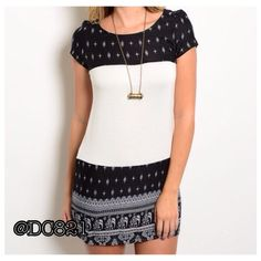 Elephant Print Tunic Black and white elephant print tunic. Made of cotton/spandex blend. Size S, M, L brand new without tags. Dresses Midi