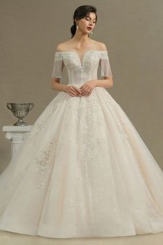 BMbridal Gorgeous White A-line Ruffles Wedding Dresses With Appliques V-neck Lace Bridal Gowns On Sale   BmBridal Wedding Dresses For Sale, White Wedding Dresses, Cheap Wedding Dress, Prom Dresses, Applique Wedding Dress, Lace Mermaid Wedding Dress, Bridal Gowns, Wedding Gowns, Tulle Wedding
