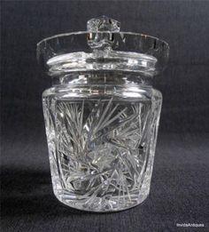 PINWHEEL CUT CRYSTAL CONDIMENT MARMALADE JAM JAR/MUSTARD CONDIMENT Jar w/ Lid by Art Expo NWA/The Art Exchange