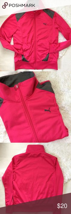 Puma women's pink track jacket Women's pink Puma track jacket. Full zip with pockets. Size Large. Perfect for the gym or everyday casual attire. Puma Jackets & Coats