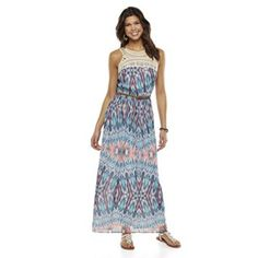 Lily Rose Crochet Bodice Lined Maxi Dress - Juniors