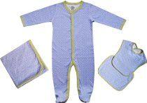 Beryl of Monkeys Unisex-Baby Newborn Organic 4-piece Layette Gift Set