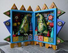 Recycled Art - Grrr Rawr - 3D Assemblage - Dinosaur Art - Mixed Media- Found Object Art by Jen Hardwick by redhardwick on Etsy https://www.etsy.com/listing/222908970/recycled-art-grrr-rawr-3d-assemblage