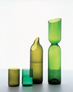 recycled wine bottles.    i really dig the diagonally cut pourer.