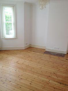 But the sanding of the bedroom floorboards is done! Pine Wood Flooring, Pine Floors, Timber Flooring, Hardwood Floors, Old Wood Floors, Victorian Living Room, Victorian Homes, Living Room Flooring, Kitchen Flooring