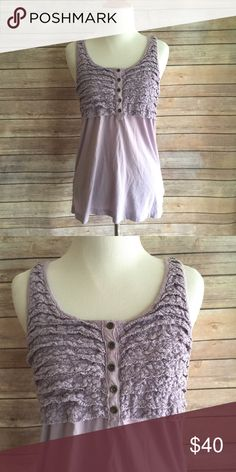 "J. Crew Crochet Button-Up Tank Top Beautiful lavender colored J. Crew tank top with crochet ruffles on the bust. Bust buttons with 5 buttons. 100% cotton. 27"" length, 17"" flat bust measurement. J. Crew Tops Tank Tops"